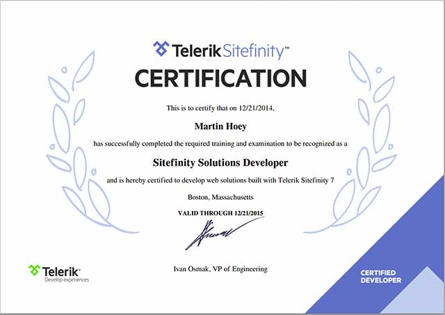 Protean certified as Sitefinity Solutions Developer
